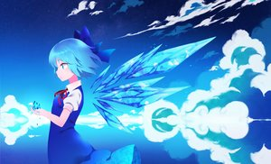 Rating: Safe Score: 52 Tags: aliasing aqua_eyes aqua_hair cirno clouds dress fairy reflection short_hair sky touhou wings yuujin_(mhhnp306) User: RyuZU