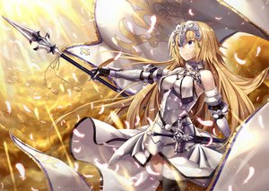 Rating: Safe Score: 82 Tags: armor blonde_hair blue_eyes breasts chain elbow_gloves fate/grand_order fate_(series) feathers gabiran gloves headdress jeanne_d'arc_(fate) long_hair skintight spear sword thighhighs weapon User: RyuZU