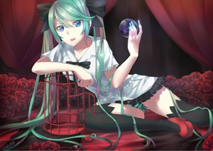 Rating: Safe Score: 207 Tags: aqua_hair blue_eyes cage flowers hatsune_miku long_hair panties rose saphirya signed striped_panties thighhighs twintails underwear vocaloid world_is_mine_(vocaloid) User: FormX