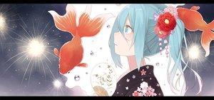 Rating: Safe Score: 82 Tags: animal aqua_eyes aqua_hair fan festival fireworks fish flowers hatsune_miku japanese_clothes kimono long_hair nagitoki twintails vocaloid User: Flandre93