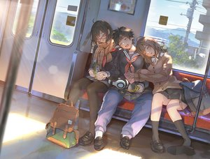 Rating: Safe Score: 67 Tags: black_hair brown_hair food glasses headphones kneehighs original pantyhose scarf school_uniform short_hair sho_(shoichi-kokubun) skirt sleeping stockings train User: RyuZU