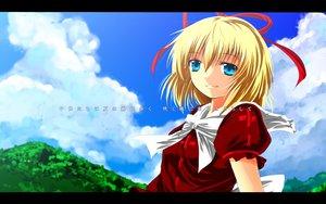 Rating: Safe Score: 22 Tags: blonde_hair blue_eyes bow clouds dress medicine_melancholy nekominase ribbons sky touhou User: STORM
