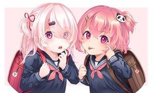 Rating: Safe Score: 51 Tags: blush loli mashiro_monaka nijisanji pink_eyes pink_hair ponytail sasaki_saku school_uniform shiina_yuika short_hair User: RyuZU