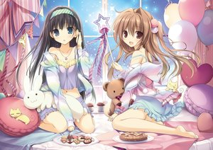 Rating: Safe Score: 68 Tags: 2girls animal aomi_maika barefoot black_hair blue_eyes brown_eyes brown_hair cake cat food headband hoodie karory long_hair necklace open_shirt original pajamas ponytail scan teddy_bear tsukiishi_koyuki wand User: BattlequeenYume