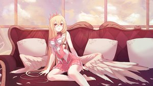Rating: Safe Score: 75 Tags: angel barefoot blonde_hair couch crown feathers long_hair original red_eyes unvko User: sadodere-chan