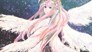 Rating: Safe Score: 31 Tags: aqua_eyes flowers headdress long_hair megurine_luka meola pink_hair vocaloid wings User: FormX