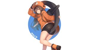 Rating: Safe Score: 38 Tags: bike_shorts boots brown_hair gloves guilty_gear hat hoodie long_hair may_(guilty_gear) orange_eyes rangen shorts weapon white User: Hakha