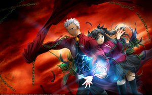 Rating: Safe Score: 15 Tags: archer blue_eyes chain fate_(series) fate/stay_night male skintight skirt sword thighhighs tohsaka_rin twintails weapon User: 秀悟
