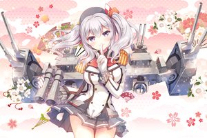 Rating: Safe Score: 56 Tags: anthropomorphism blush flowers gloves gray_eyes gray_hair gunp hat kantai_collection kashima_(kancolle) long_hair military skirt twintails uniform weapon User: otaku_emmy