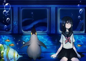 Rating: Safe Score: 45 Tags: animal black_eyes black_hair bubbles fish glasses noricopo_(nori0w0) original penguin phone seifuku underwater water User: FormX