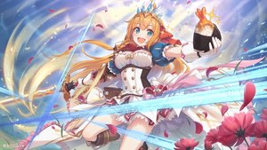 Rating: Safe Score: 72 Tags: aqua_eyes boots breasts cleavage flowers food headdress long_hair orange_hair pecorine petals princess_connect! sword tagme_(artist) watermark weapon User: RyuZU