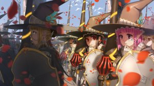 Rating: Safe Score: 169 Tags: armor black_hair blonde_hair brown_eyes eyepatch glasses gray_hair hat original petals pink_eyes pink_hair pointed_ears qingmingtongzi red_eyes spear weapon witch_hat yellow_eyes User: FormX