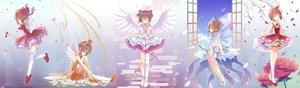 Rating: Safe Score: 22 Tags: brown_hair card_captor_sakura dress gloves gradient green_eyes kinomoto_sakura petals shiiba_nae short_hair thighhighs wand wings User: RyuZU
