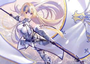 Rating: Safe Score: 83 Tags: armor blonde_hair blue_eyes breasts chain dress elbow_gloves fate/grand_order fate_(series) gloves headdress jeanne_d'arc_(fate) long_hair spear sword takubon_(xewh4773) thighhighs weapon User: BattlequeenYume