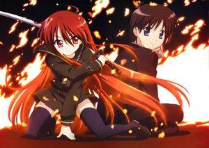 Rating: Safe Score: 36 Tags: sakai_yuuji shakugan_no_shana shana sword thighhighs weapon User: Oyashiro-sama