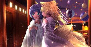 Rating: Safe Score: 22 Tags: 2girls animal_ears ayase_eri blonde_hair blue_eyes foxgirl green_eyes japanese_clothes long_hair love_live!_school_idol_project miko multiple_tails night orein ponytail purple_hair tail torii toujou_nozomi User: otaku_emmy