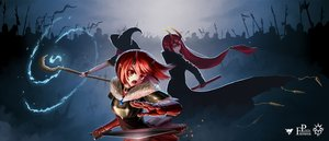 Rating: Safe Score: 42 Tags: ambermoe armor hat horns katana long_hair pixiv_fantasia red_eyes red_hair short_hair sword weapon witch_hat User: Maboroshi