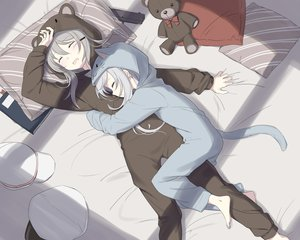 Rating: Safe Score: 84 Tags: 2girls anthropomorphism bed cnm gangut_(kancolle) gray_hair gun hibiki_(kancolle) hoodie hug kantai_collection long_hair scar sleeping teddy_bear verniy_(kancolle) weapon User: Xirois