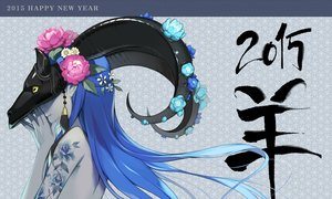 Rating: Safe Score: 232 Tags: 1000marie blue_hair flowers headdress horns long_hair original tattoo topless User: otaku_emmy
