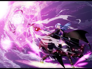 Rating: Safe Score: 30 Tags: black_eyes cape fate_(series) fate/stay_night gloves long_hair magic medea_(fate) mihane pointed_ears purple_hair staff thighhighs weapon User: w7382001