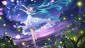 Rating: Safe Score: 50 Tags: aqua_eyes aqua_hair barefoot clouds dress hatsune_miku long_hair night petals sky stars tagme_(artist) vocaloid water User: FormX