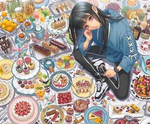 Rating: Safe Score: 41 Tags: black_hair brown_eyes cake candy cherry chocolate cigarette cropped drink food fruit hoodie lollipop long_hair minami_(minami373916) orange_(fruit) original strawberry wristwear User: mattiasc02
