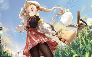 Rating: Safe Score: 46 Tags: animal bird blonde_hair clouds grass hat hoodie kuroi_asahi original pantyhose school_uniform signed skirt sky tie twintails windmill yellow_eyes User: RyuZU