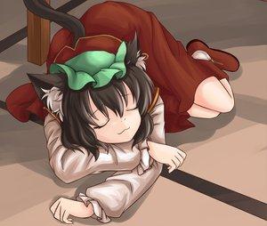 Rating: Safe Score: 56 Tags: animal_ears brown_hair catgirl cat_smile chen nanairo sleeping tail touhou User: SciFi