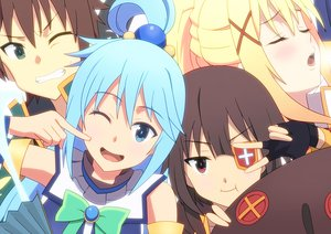 Rating: Safe Score: 42 Tags: aqua_eyes aqua_hair aqua_(konosuba) blonde_hair blush bow brown_hair close darkness_(konosuba) eyepatch gloves green_eyes group hoshi_kasoke kono_subarashii_sekai_ni_shukufuku_wo! long_hair male megumin red_eyes satou_kazuma short_hair wink User: RyuZU