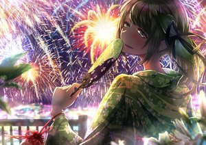 Rating: Safe Score: 25 Tags: aliasing blush brown_hair clueseller fan fireworks green_eyes japanese_clothes original ponytail sky summer yukata User: BattlequeenYume