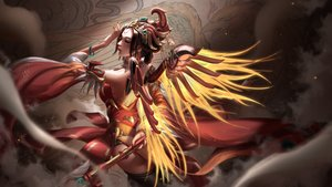 Rating: Safe Score: 157 Tags: brown_hair chinese_clothes headdress liang_xing mercy_(overwatch) overwatch realistic short_hair staff thighhighs wings wristwear User: Peter_Fu