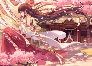 Rating: Safe Score: 162 Tags: bow brown_hair cherry_blossoms flowers hakurei_reimu japanese_clothes long_hair miko petals shrine touhou zicai_tang User: Flandre93
