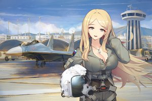 Rating: Safe Score: 74 Tags: aircraft blonde_hair blue_eyes breasts cleavage clouds combat_vehicle liu_lan long_hair necklace original sky User: otaku_emmy