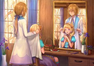 Rating: Safe Score: 27 Tags: blonde_hair blue_eyes brown_hair dress flowers food fruit long_hair male original ponytail reflection ribbons tagme_(artist) tree User: BattlequeenYume