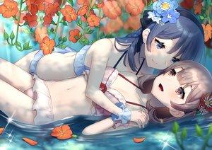 Rating: Safe Score: 26 Tags: 2girls bikini blue_hair blush brown_hair flowers headband mizuki_eiru_(akagi_kurage) navel original shoujo_ai swimsuit water User: BattlequeenYume