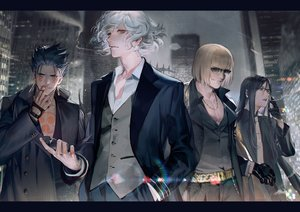 Rating: Safe Score: 85 Tags: all_male black_hair blonde_hair building cigarette city cu_chulainn cu_chulainn_alter_(fate/grand_order) edmond_dantes fate/grand_order fate_(series) glasses gloves group liduke long_hair lord_el-melloi_ii male necklace red_eyes sakata_kintoki_(fate) short_hair smoking suit sunglasses tattoo waver_velvet white_hair yellow_eyes User: otaku_emmy