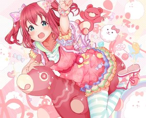 Rating: Safe Score: 30 Tags: aqua_eyes blush bow hoodie kurosawa_ruby kuzu_kow love_live!_school_idol_project love_live!_sunshine!! red_hair short_hair teddy_bear thighhighs twintails wristwear User: otaku_emmy