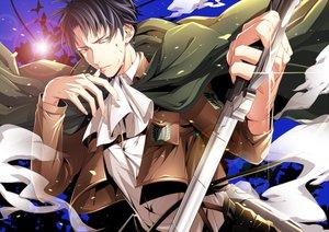 Rating: Safe Score: 18 Tags: all_male black_eyes black_hair blood cape levi_ackerman male mtktc shingeki_no_kyojin short_hair sword uniform weapon User: STORM