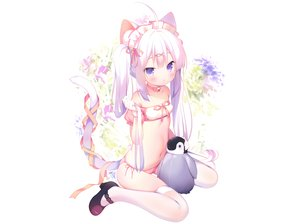 Rating: Safe Score: 91 Tags: animal bell bird blush cameltoe catgirl choker gloves headband loli navel original panties penguin photoshop piyodera_mucha purple_eyes ribbons tail thighhighs twintails underwear white white_hair User: BattlequeenYume