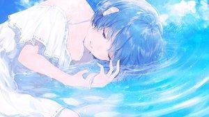 Rating: Safe Score: 80 Tags: blue_hair dress original polychromatic short_hair sudach_koppe summer_dress water User: RyuZU