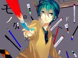 Rating: Safe Score: 61 Tags: aqua_hair gray hatsune_mikuo kyama short_hair tie vocaloid User: MissBMoon