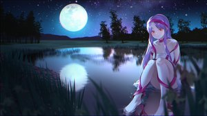 Rating: Safe Score: 42 Tags: dress gonzz_(gon2rix) grass long_hair moon night original purple_hair red_eyes reflection ribbons scenic sky water User: BattlequeenYume