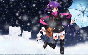 Rating: Safe Score: 44 Tags: blush green_eyes kantoku ponytail purple_hair thighhighs umbrella zettai_ryouiki User: 秀悟
