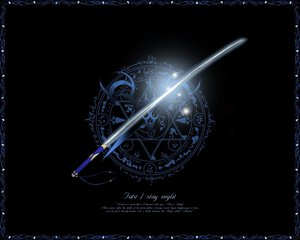 Rating: Safe Score: 50 Tags: fate_(series) fate/stay_night logo nobody sword weapon User: Oyashiro-sama