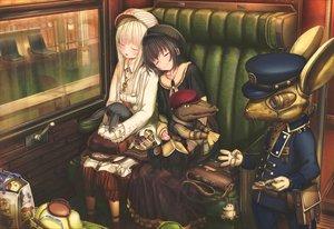 Rating: Safe Score: 89 Tags: 2girls abo_(kawatasyunnnosukesabu) animal dress food hat original robot train User: luckyluna