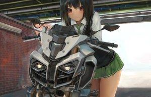 Rating: Safe Score: 50 Tags: black_hair brown_eyes motorcycle nihoshi_(bipedal_s) original school_uniform short_hair skirt tie waifu2x User: BattlequeenYume