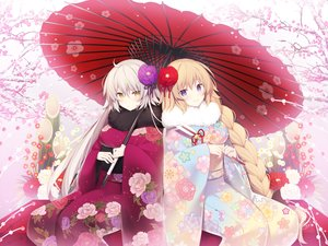 Rating: Safe Score: 81 Tags: aliasing blonde_hair braids cherry_blossoms fate/grand_order fate_(series) flowers gray_hair japanese_clothes jeanne_d'arc_alter jeanne_d'arc_(fate) long_hair miko_92 petals purple_eyes short_hair signed umbrella winter yellow_eyes User: RyuZU