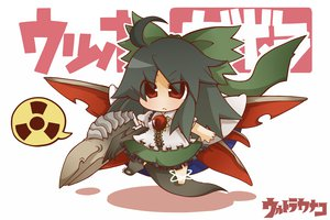 Rating: Safe Score: 17 Tags: black_hair chibi gurageida long_hair red_eyes reiuji_utsuho ribbons skirt tail touhou weapon wings User: Tensa