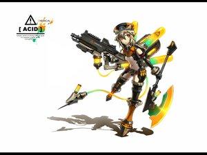 Rating: Safe Score: 256 Tags: anthropomorphism gia gray_hair gun hat orange_eyes original short_hair weapon white User: Tensa