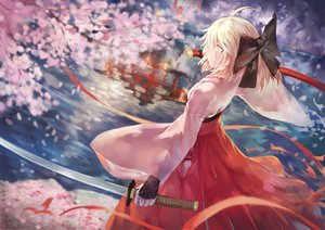 Rating: Safe Score: 166 Tags: avamone blonde_hair bow cherry fate/grand_order fate_(series) food fruit japanese_clothes jpeg_artifacts katana okita_souji_(fate) petals reflection short_hair sword torii water weapon yellow_eyes User: Flandre93